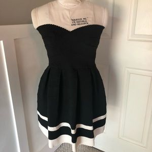 Black and white stripe party dress